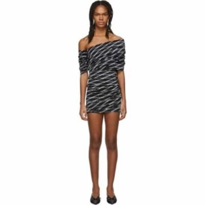 バレンシアガ Balenciaga レディース ワンピース ワンピース・ドレス black and white stretch monogram asymmetric dress