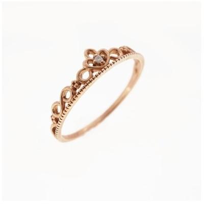 リング 天然ダイヤモンド 0.006 ct K10PG ピンクゴールド 一粒ダイヤ 指輪 未使用
