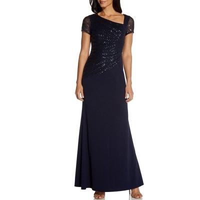 アドリアナ パペル レディース ワンピース トップス Asymmetrical Neck Cap Sleeve Sequin Crepe A-Line Gown Midnight