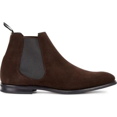 チャーチ Church's メンズ ブーツ チェルシーブーツ シューズ・靴 Prenton dark brown suede Chelsea boots Brown