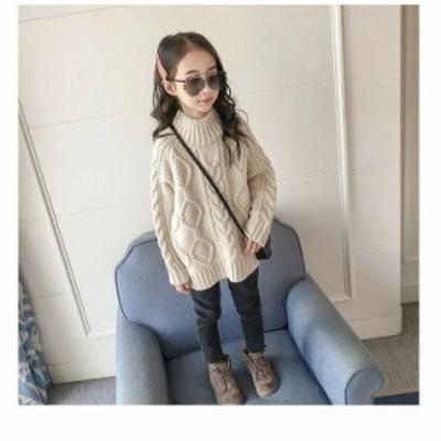 ニット セーター キッズ 女の子 韓国子供服 トップス 子供服 キッズ インナー セーター こども ハイネック シンプル?可愛い