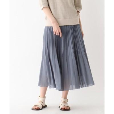 スカート シフォンプリーツミモレスカート