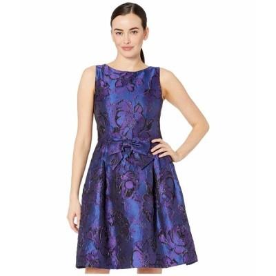 タハリ ワンピース トップス レディース Sleeveless Bow Front Printed Jacquard Party Dress Purple Royal Floral
