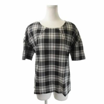 【中古】デザイナーリミックス カットソー ラウンドネック 半袖 チェック ウール混 36 黒 ブラック 白 ホワイト