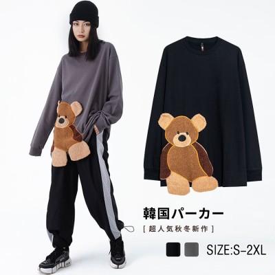 2FB439    可愛い長袖Tシャツ /秋冬 花柄トップス ブラウス 長袖 レディース 大きいサイズ スタンドカラー かわいい 韓国ファッション