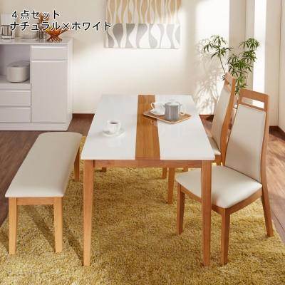 ツートンダイニングテーブルセット<4人用>【お手入れ簡単な合皮素材】