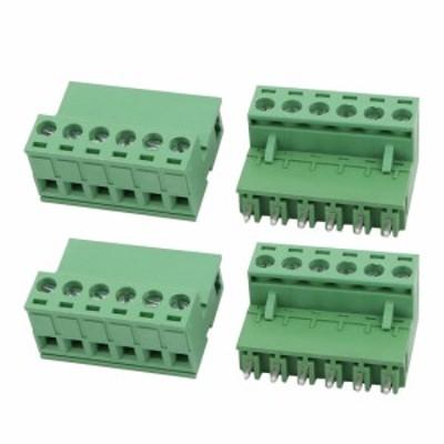 uxcell 海外出荷 PCB ターミナルブロック メスオスワイヤコネクタ AC 300V 10A 5.08mmピッチ 6P 4セット