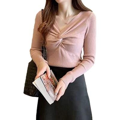 スロウアンドメロウニット カシュクール リブ レディース 長袖 トップス カジュアル セーター(ピンク, Free Size)
