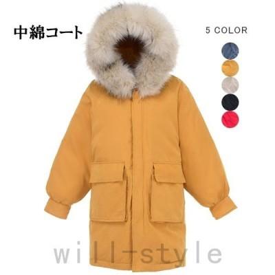中綿コートレディース中綿ジャケットミドル丈ファー付きフェイクファーフード付きボリュームポケット付きあったか暖かい