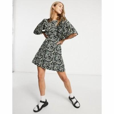 ファッションユニオン Fashion Union レディース ワンピース ミニ丈 ワンピース・ドレス Mini Dress With Ruffle Sleeve In Ditsy Floral