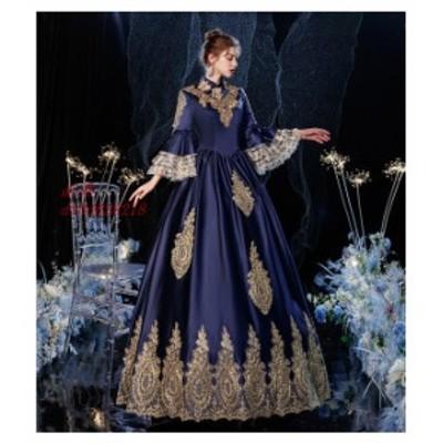 マリー・アントワネット ロココ調 18世紀 バケーションドレス 貴族風 宮廷 ネイビー フお姫様ドレス コスチューム ドレス クリスマス 女