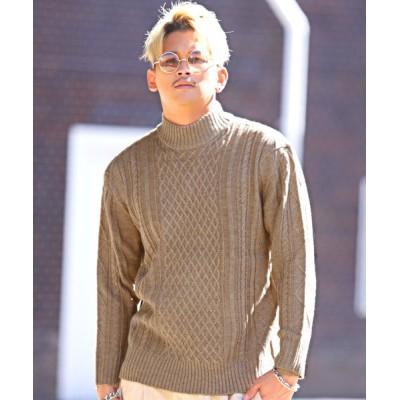 【ラグスタイル】 ケーブル編みスタンドネックニット/ニット メンズ セーター スタンドネック ケーブル メンズ ベージュ M LUXSTYLE