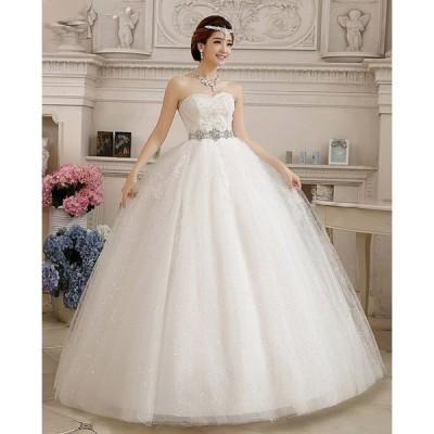 !激安!!ウェディングドレス 豪華なロングドレス☆格安結婚式二次会パーティーエンパイアドレスフリル ドレス 編みげ ビスチェ