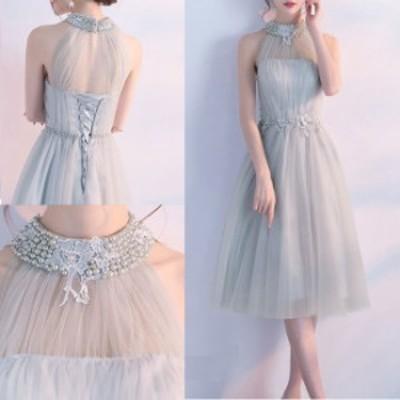 スタンドカラー ビジュー 透け感 バックシャン 装飾 ウエストマーク ベーシックカラー ドレス