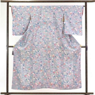 リサイクル着物 小紋 正絹グレー地花柄袷小紋着物未使用品