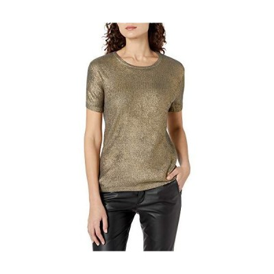 Majestic Filatures Women's Short Sleeve Sweater, 724-Metal Gold, 4並行輸入品 送料無