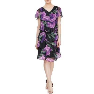 イグナイトイブニングス レディース ワンピース トップス Short Sleeve Glitter Floral Tiered Chiffon Dress Black Multi