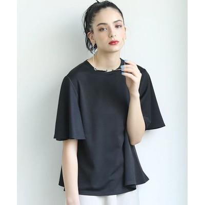 (coca/コカ)とろみ素材袖フレアTシャツ/レディース BLACK