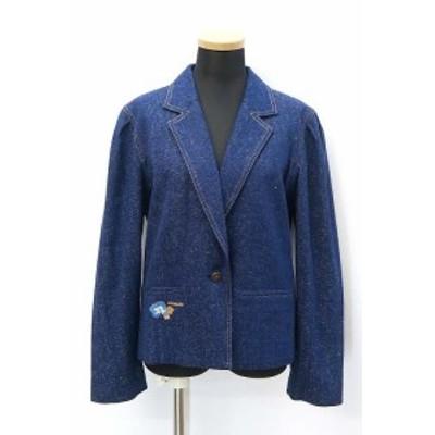 【中古】レオナール LEONARD ワンポイント刺繍 デニム 1B テーラードジャケット 11AB3