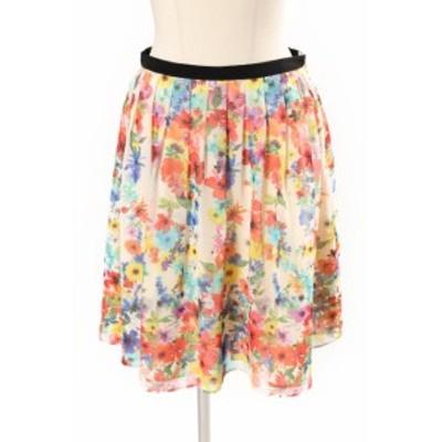 【中古】トッカ TOCCA FULLBLOOM FLOWER スカート ひざ丈 フレア ギャザー 0 マルチカラー  /yo0415 レディース
