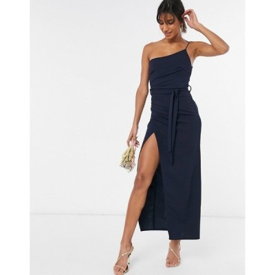 リトルミストレス レディース ワンピース トップス Little Mistress one shoulder bridesmaid dress with side split in navy Navy