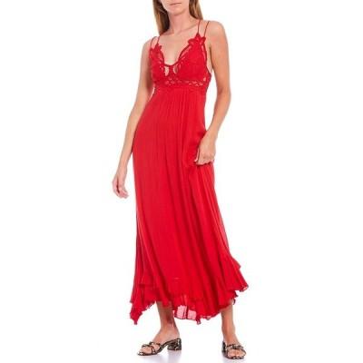 フリーピープル レディース ワンピース トップス Adella Crochet Detail Cotton Blend Smocked Back Slip Midi Dress Bright Red