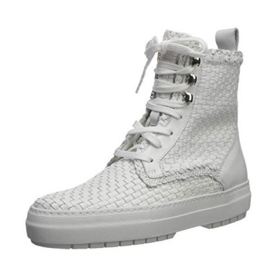 Aquatalia Women's TESS Woven Leather Sneaker, White, 6.5 M US【並行輸入品】