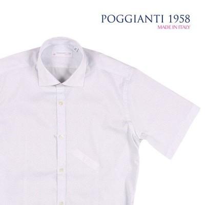 POGGIANTI 1958(ポジャンティ 1958) 半袖シャツ 8.04E+22 ホワイト x ブルー 39 22651 【S22652】