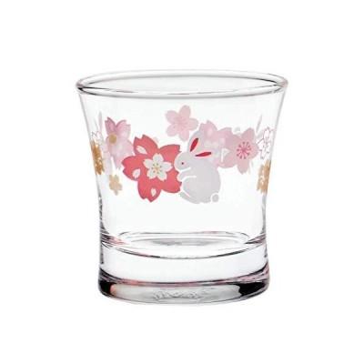 東洋佐々木ガラス 日本酒グラス うさぎと桜柄 クリア 110ml 09126-J394