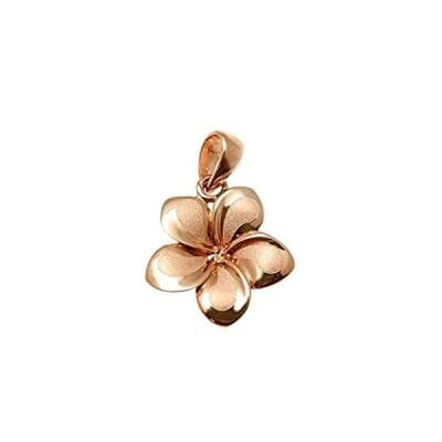 14Kソリッドピンクローズゴールドハワイアン13mmプルメリア花チャームペンダント