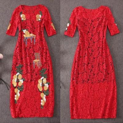 アジアンテイスト♪スパンコールビジュー刺繍☆半袖ロングドレス