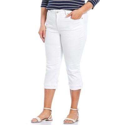エヌワイディージェイ レディース デニムパンツ ボトムス Plus Size Marilyn Straight Leg Frayed Cuffs Capri Jeans