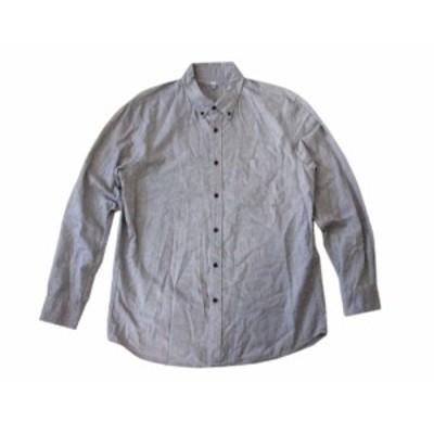美品 UNIQLO ユニクロ ボタンダウンシャツ (グレー 長袖) 099002【中古】