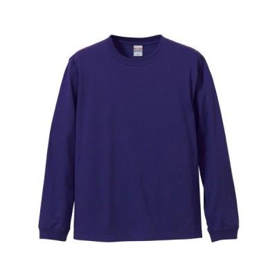 Tシャツ メンズ レディース 長袖 無地 uネック 綿 綿100 大きい 厚手 シャツ tシャツ スポーツ ブランド トップス クルーネック 丈夫 男 女 xs s m l 2l 3l 紫