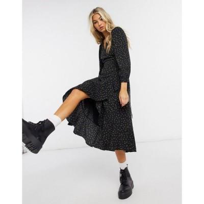 ホイッスルズ レディース ワンピース トップス Whistles Bud print wrap dress in black Black