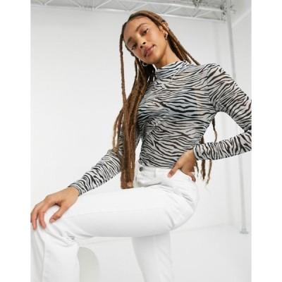 オンリー レディース シャツ トップス Only mesh top with high neck in zebra print