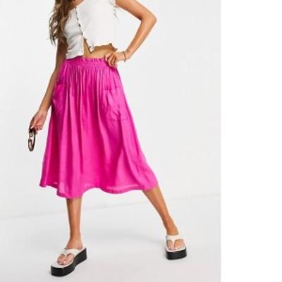 エイソス レディース スカート ボトムス ASOS DESIGN midi skirt with pocket detail in pink Pink