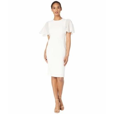 カルバンクライン ワンピース トップス レディース Ruffle Chiffon Sleeve Sheath Dress Cream