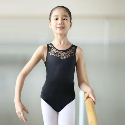 バレエ レオタード シフォン 女の子 ノースリーブ キッズ レッスン着 新体操にも 格安バレエ用品 衣装 スカートなし 無地 レオタード ブラック