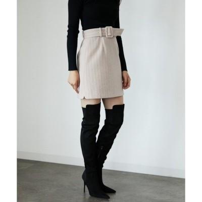 スカート カラーヘリンボーンミニスカート