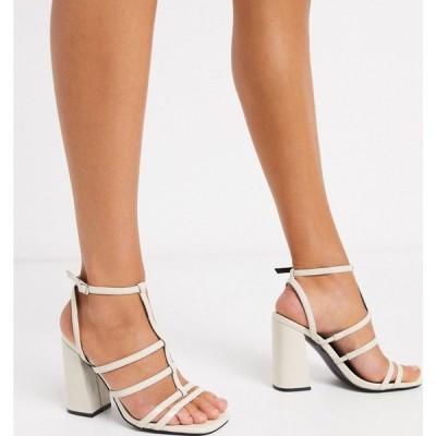 エイソス ASOS DESIGN レディース サンダル・ミュール シューズ・靴 Nobel caged block heeled sandals in bone ライトベージュ