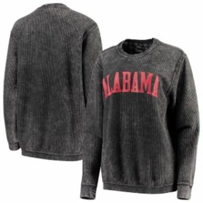 Pressbox プレス ボックス スポーツ用品  Pressbox Alabama Crimson Tide Womens Black Comfy Cord Vintage Wash Basic Arch Pullover Sw
