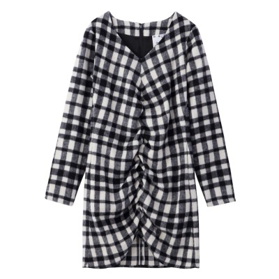 【エックスガール/X-girl】 SHAGGY PLAID SHIRRED DRESS