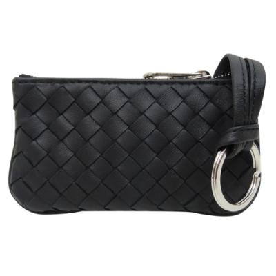 BOTTEGA VENETA 小羊皮編織拉鍊零錢鑰匙包(黑色)