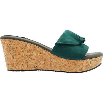 コー ブランク CO BLANC レディース サンダル・ミュール ウェッジソール シューズ・靴 Ruffled Wedge Sandals Olive Green
