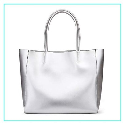 【新品】Anynow Luxurious Women's Genuine Leather Handbag Fashion Cowhide Shoulder Bag Ladies Tote Bag (Silver)(並行輸入品)