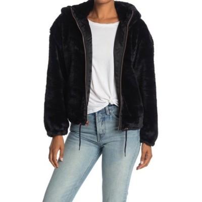 ラッキーブランド レディース ジャケット&ブルゾン アウター Faux Fur Hooded Zip Jacket BLACK
