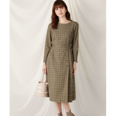 Couture Brooch/クチュールブローチ ウエストリボンチェックワンピース ブラウン(242) 40(L)