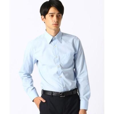 COMME CA ISM/コムサイズム 《イージーケア・抗菌防臭加工》 市松柄 レギュラーカラーシャツ サックス M
