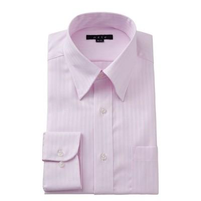 スナップダウン ワイシャツ メンズ 長袖 スリム ピンク 綿100% 形態安定 プレミアムコットン ドレスシャツ 無地 おしゃれ 大きいサイズ